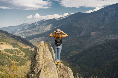 French Pyrenees, hiker on viewpoint - AFVF01910