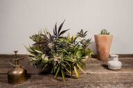 Close-up of potted cannabis plant on wooden table against wall - CAVF52428