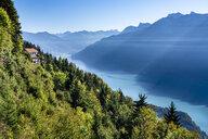 Switzerland, Canton of Bern, Bern Alps, Interlaken, View of Lake Brienz, view from Harder Kulm - STSF01775