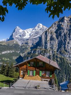 Switzerland, Bernese Oberland, Eiger and Moench, Muerren in summer, wooden house - STS01778