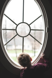 Rear view of baby boy looking through window at home - CAVF52763