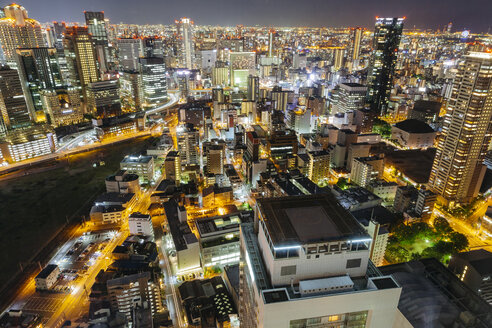High angle view of illuminated modern cityscape at night - CAVF53023