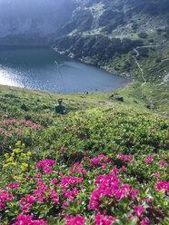 Austria, Tyrol, Fieberbrunn, woman in mountainscape - PSIF00148