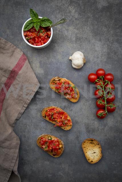 Bruschetta with tomato, basil, garlic and white bread - LVF07530