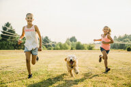 Girls running through field with labradoodle puppy - MINF09437