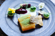Salmon with smoked beets, cucumber, dill and zucchini blossom - MINF09521