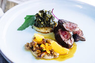 Beef tenderloin with chanterelle mushrooms, mandarin oranges, peanuts, collard greens, and grits - MINF09524