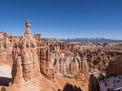 Tranquil view of rock formations at desert against clear sky during winter - CAVF53197