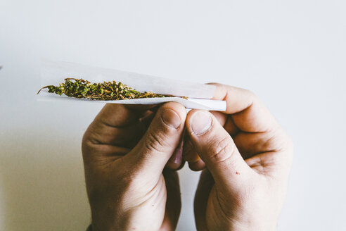 Cropped hands of man rolling marijuana joints in paper over white table at home - CAVF53326