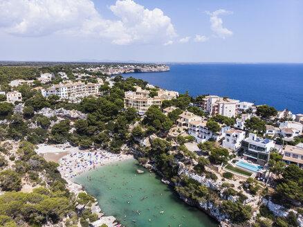 Spain, Balearic Islands, Mallorca, Llucmajor, Aerial view of bay of Cala Pi - AMF06159