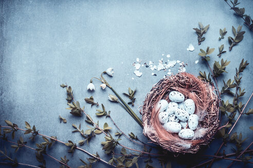 High angle view of Easter decorations - INGF06464