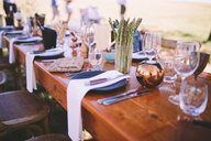 Close-up of dining table layout outside - INGF06503