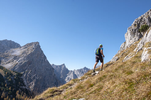Germany, Bavaria, Upper Bavaria, Berchtesgadener Land, Berchtesgaden National Park, hiker - HAMF00532