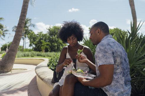 USA, Florida, Miami Beach, young couple sharing a salad in a park - BOYF00853