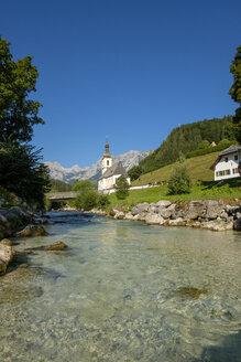 Germany, Bavaria, Berchtesgadener Land, Parish church St Sebastian in front of Reiteralpe mountain - LBF02190