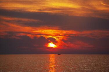 Croatia, Istria, Porec, Adriatic Sea, Sailing boat during sunset - WWF04450