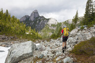 Rear view of hiker with backpack hiking against mountains in forest - CAVF54366