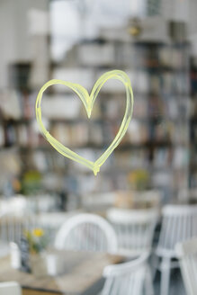 Painted heart on windowpane at a cafe - KNSF05381