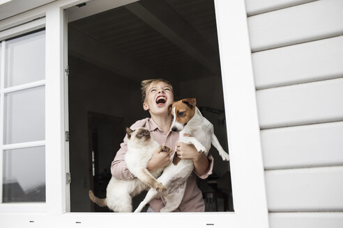 Boy standing at open window with Jack Russel Terrier and Siam cat - KMKF00646