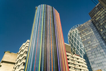 Low angle view of modern buildings in La Defense district in Paris, France - AURF07752