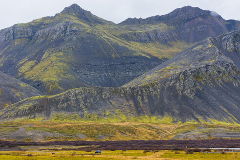 Scenic view of mossy mountain, Borgarbyggd, Iceland - AURF07845