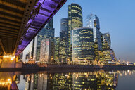 Russia, Moscow, Modern skyscrapers of the financial district at dusk - WPEF01129