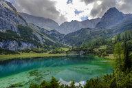 Austria, Tyrol, Wetterstein Mountains, Mieminger Kette, Ehrwald, Lake Seebensee, Sonnenspitze, Schartenkopf and Vorderer Drachenkopf - LBF02229