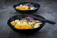 Miso Ramen soup with noodles, hokaido pumpkin, red radish sprouts, fried tofu, shimeji mushroom and king trumpet mushroom - LVF07546