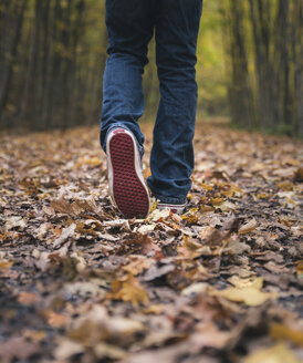 Low section of boy walking on field during autumn - CAVF55358