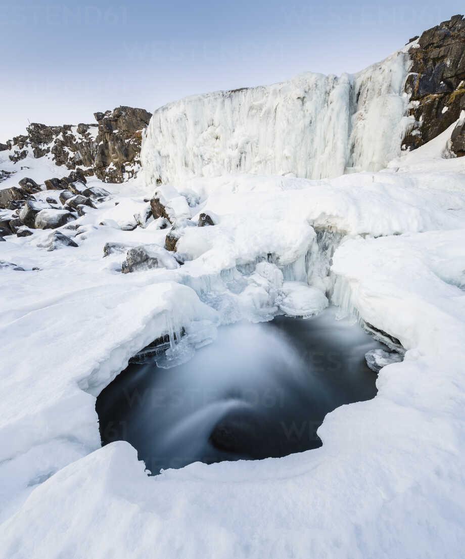 Scenic view of frozen waterfall - CAVF55586 - Cavan Images/Westend61
