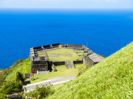 Caribbean, Lesser Antilles, Saint Kitts and Nevis, Basseterre, Brimstone Hill Fortress, cannons - AMF06212