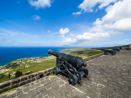 Caribbean, Lesser Antilles, Saint Kitts and Nevis, Basseterre, Brimstone Hill Fortress, old cannon - AMF06215