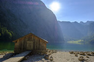 Germany, Bavaria, Upper Bavaria, Berchtesgaden Alps, Berchtesgaden National Park, boathouse at Lake Obersee - LBF02242