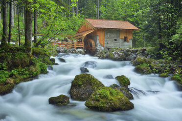 Old Mill at the river Schwarzbach near the famous Golling waterfall in spring, Austria - RUEF02054