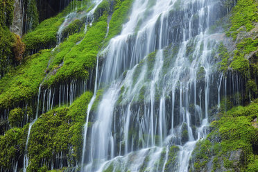 Water cascades down the cliffs of the famous Wimbachklamm, Berchtesgaden National Park, Bavaria, Germany - RUEF02060