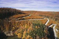 Austria, Lower Austria, Vienna Woods, Exelberg, aerial view on a sunny autumn day over a winding mountainroad - HMEF00107