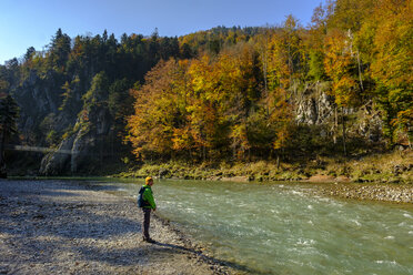 Germany, Bavaria, Upper Bavaria, Chiemgau, near Schleching, hiker standing at Tiroler Ache riverside in autumn - LBF02258