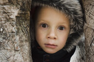 Close-up portrait of cute boy amidst trees - CAVF55970