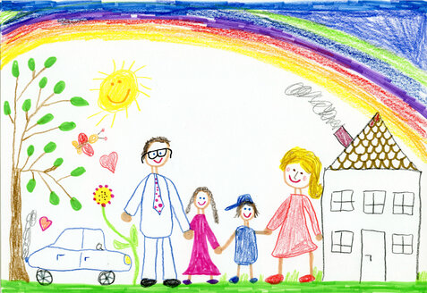 Children´s drawing, happy family with garden, car, sunshine, rainbow and house - CMF00866