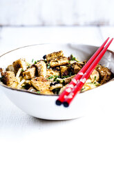 Bowl of zoodles with fried tofu - SBDF03856