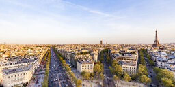 France, Paris, cityscape with Place Charles-de-Gaulle, Eiffel Tower and Avenue des Champs-Elysees - WDF04885