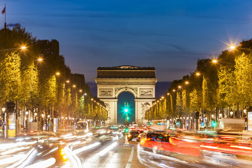 France, Paris, Champs-Elysees, Arc de Triomphe and cars at night with light trails - WDF04888