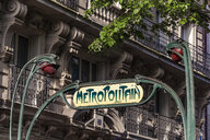 France, Paris, historical metro sign by Hector Guimard - WD04902