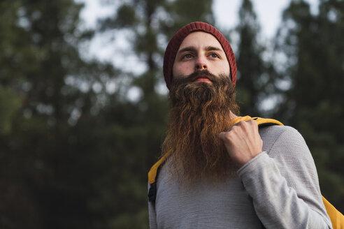 Portrait of bearded man in a forest - KKAF03003