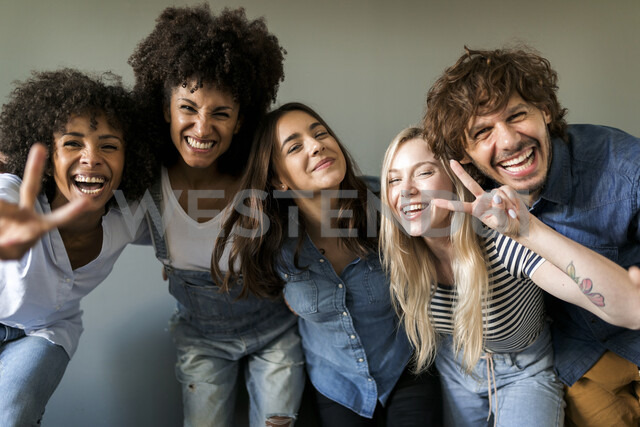 Group portrait of cheerful friends - VABF01747