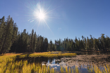USA, California, Yosemite National Park, lake against the sun in autumn - KKAF03008