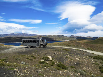 Chile, Patagonia, Torres del Paine National Park, Cerro Paine Grande and  Torres del Paine, Lago Nordenskjold, bus - AMF06287