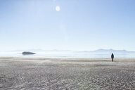 Rear view of woman walking at Antelope Island against clear sky during sunny day - CAVF56639
