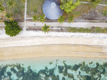 Indonesia, West Sumbawa, Aerial view of Kertasari, beach and hut from above - KNTF02378
