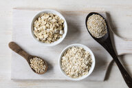 Two variations of oat flakes, oat bran and steel-cut oats - EVGF03377